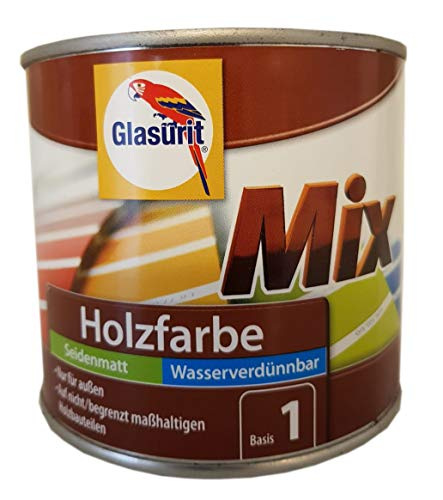 Glasurit Mix Holzsfarbe Seidenmatt Basis 1 Außen Weiß 500 ml