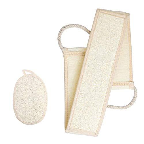 Lot de 2 éponges exfoliantes naturelles en luffa pour le bain, le dos, la peau, le visage, le corps, le spa - Pour homme et femme