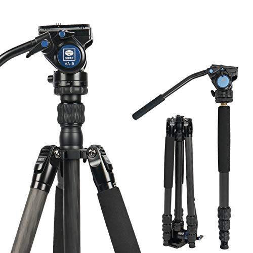 SIRUI Profesional de viajeros VC vídeo trípode de cámara de 62,6 pulgadas de fibra de carbono Viajes Vídeo trípode con cabeza de vídeo de fluidos, capacidad de carga de hasta 3 kg