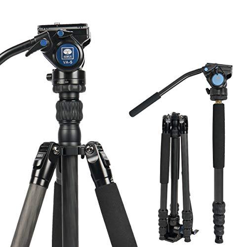SIRUI Profi Traveler VC Video-Stativ, 159 cm, Carbon, Reise-Video-Stativ mit Videoneiger, Tragkraft bis zu 3 kg