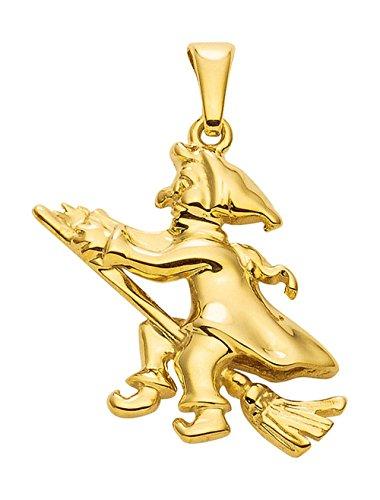 Hexe Anhänger, Kettenanhänger aus 333 Gold 8 Karat