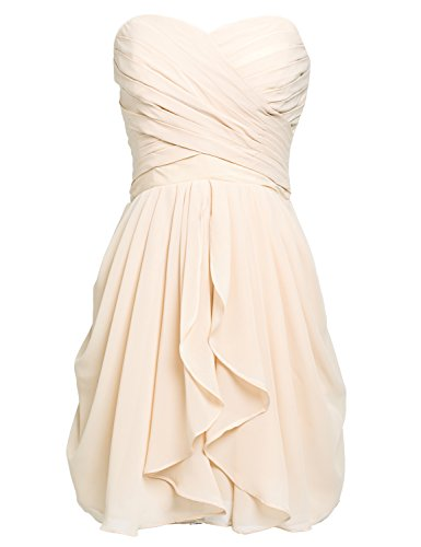 Sarahbridal Juniors Prom Dresses Strapless Chiffon Short Bridesmaid Party Gowns Pleats Champagne US6
