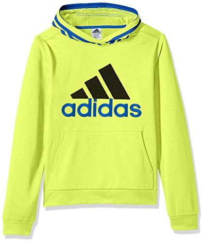 adidas Boys' 3T Active Sport Athletic Pullover Hooded Sweatshirt, Solar Yellow Block