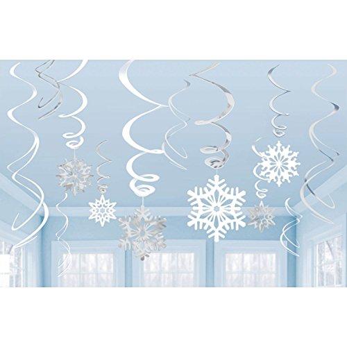 Toyland® - Volute di Fiocchi di Neve Pendenti - Decorazioni Natalizie (Argento e Bianco, Confezione da 12)
