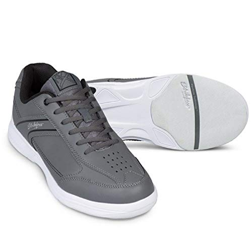 EMAX KR Strikeforce Flyer Bowling-Schuhe Damen und Herren, für Rechts- und Linkshänder in 6 Farben Schuhgröße 38-48 wahlweise mit Schuh-Deo Titania Foot Care (Lite Grau/Schwarz, US 14 (46))
