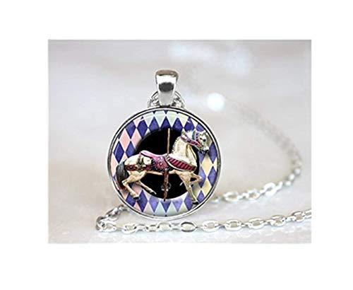 Karussell Pferd Halskette, Pferd Schmuck, Pferd Halskette, Merry Go Runde Halskette, Charm Pferd, Karneval Pferd