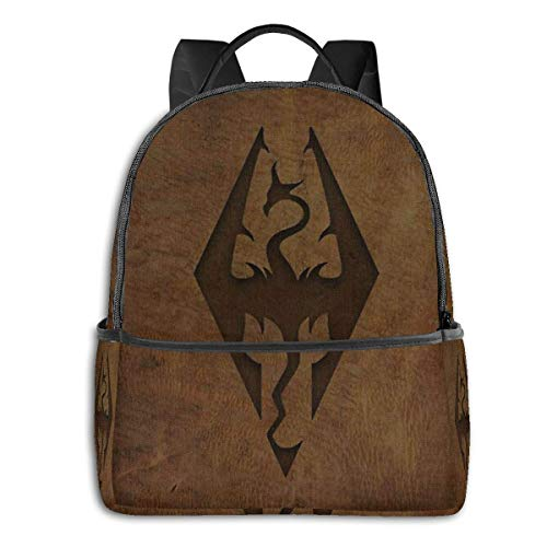 xiameng Skyrim Worn Leather Emboss Rucksack Unisex School Daily Backpack Leichter Casual Travel Outdoor Camping Daypack