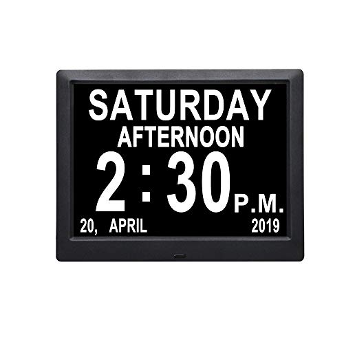 [IPS Display] 9 inch Digital Calendar Day Clocks Non-Abbreviated Day & Month Auto-Dimming Dementia Alzheimers Vision Impaired Memory Loss Wall Desk/Shelf Electronic Clock for Senior Elderly