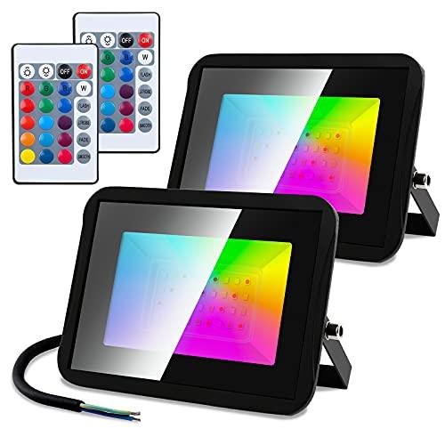 Faziango Confezione da 2 faretti LED RGB per esterni, 30 W, IP66, impermeabili, 16 colori, 4 modalità, dimmerabili, con telecomando, per esterni