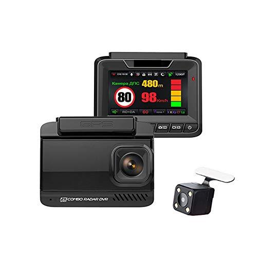 CXMY Sweeper Spy Scanner Ruccess 3 en 1 Detector de Radar de automóvil DVR Empresado GPS Velocidad Anti Radar Dual Lens Full HD 1296P 170 Grados Video Recorder 1080p Detector Anti espía