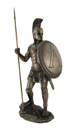 Veronese Design Bronzed Spartan Warrior with Spear and Hoplite Shield Statue