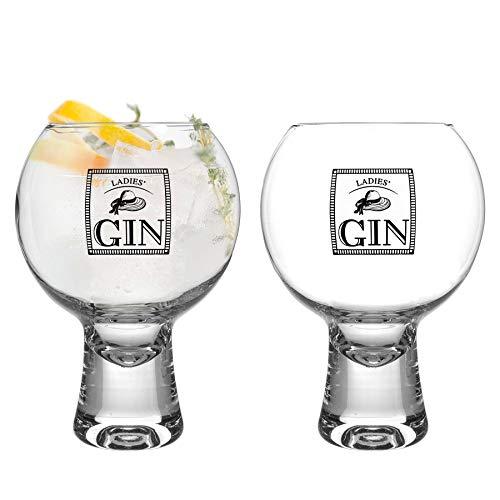iStyle My Home 2 Piezas Gin IKONIC señoras de los vidrios Set - Decorado con Tallo Corto Globo español de Copa Balon Gin Tonic de Vidrio - 540ml