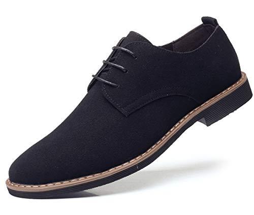 DADAWEN Men's Suede Dress Shoes Casual Lace Up Oxfords Shoes Black US Size 10