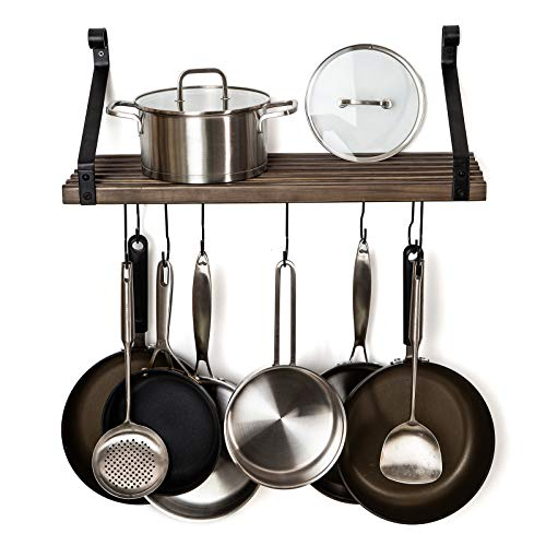 Soduku Pot Pan Rack with Solid Wood Shelf Wall Mounted Multifunctional Kitchen Hanging Organizer with 8 Hooks for Pots Pans Lids Utensils Cookware Brown