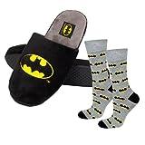 soxo Batman Set Zapatillas de Casa y calcetines para Hombre   Talla de zapatillas 41-42  Talla de calcetines 40-45 EU   Cómodas Babuchas Afelpadas   Suela Flexible Antideslizante