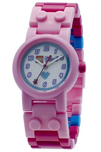 LEGO Friends 8020172 Stephanie Kinder-Armbanduhr mit Minifigur und Gliederarmband zum Zusammenbauen , rosa/weiß, Kunststoff , Gehäusedurchmesser 25 mm , analoge Quarzuhr , Junge/ Mädchen , offiziell