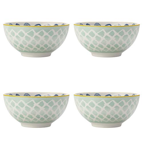 Maxwell Williams 5251644 Laguna Lot de 4 bols en porcelaine Bleu/blanc 10 cm, Porcelaine, Small Bowls for Snacks, Dips and Nuts