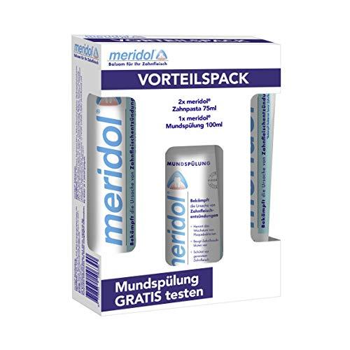 meridol Zahnpasta, 2x75 ml Vorteilspack mit gratis mini meridol Mundspülung, 100 ml