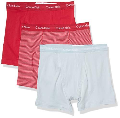 Calvin Klein Men's Cotton Stretch Multipack Boxer Briefs, Downtown Pink, Downtown Pink/April Stripe, April, Medium