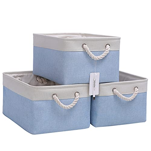 Fabric Storage Basket Set of 3, Foldable Linen Storage Box for Nursery and Home, Collapsible Canvas Shelf Basket for Wardrobe or Bedroom, Blue and White