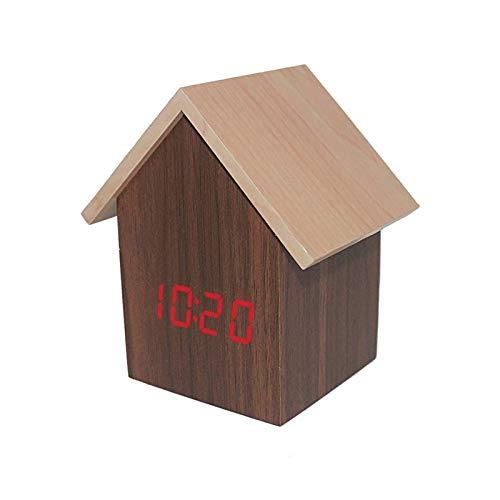 SUZONC Kabinenuhr Q-Version Der Hausförmigen Elektronischen Uhr Geschenkuhr Elektronische Uhr 6,9 * 6,7 * 11 cm