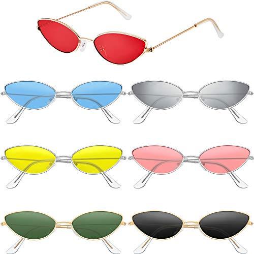 7 Pares Gafas de Sol Vintage Pequeñas de Ojo de Gato Gafas de Sol con Forma de Pétalo Pequeño Gafas de Sol Delgadas de Marco de Metal Retro