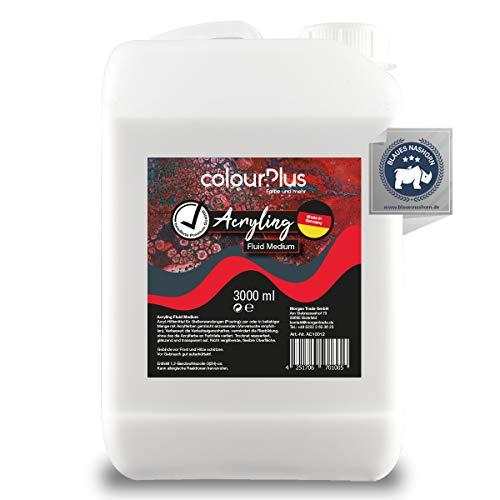 colourPlus® Acryling (3 Liter, Fluid Medium) Exklusives Bindemittel für eine optimale Pouring-Anwendung mit Acryl-Farben, Made in Germany