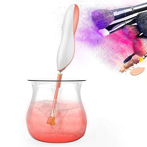 Limpiador y secador de pinceles de maquillaje - Achort Pinceles de maquillaje automático Lavador y secador de máquina Spinner limpio con 8 collares de goma (rosa dorado)