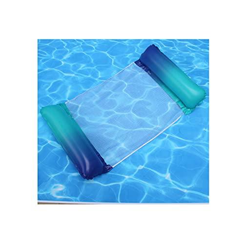 GYN Hamaca Flotante,Hamaca De Agua Tumbona Flotante Hamaca Flotante Colchoneta Piscina Tumbona Colchoneta Piscina Adultos Cama Flotante De Agua(Enviar 1 Bomba De Inflado),Blue and Green