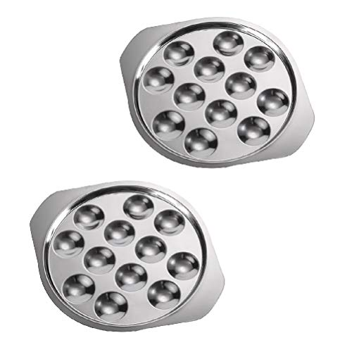 HUIYANG 2PCS Escargot Dish Stainless Steel Snail Escargot Plate 12 Holes Food Plate for Kitchen Hotel Restaurant