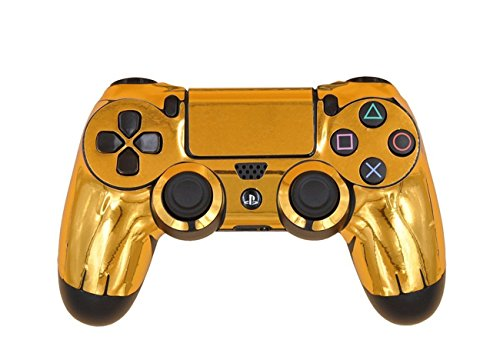 DOTBUY PS4 Design Schutzfolie Skin Sticker Aufkleber Set styling für Sony Playstation 4 Controller X 1 (Glossy Gold)