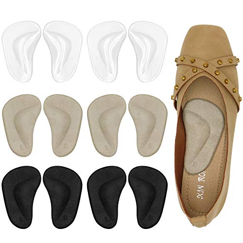 Gel Arch Support Cushions for Men & Women, Shoe Insoles for Flat Feet, Reusable Arch Inserts for Plantar Fasciitis, Adhesive Arch Pad for Relieve Pressure and Feet Pain- 6 Pairs (3 Colors)