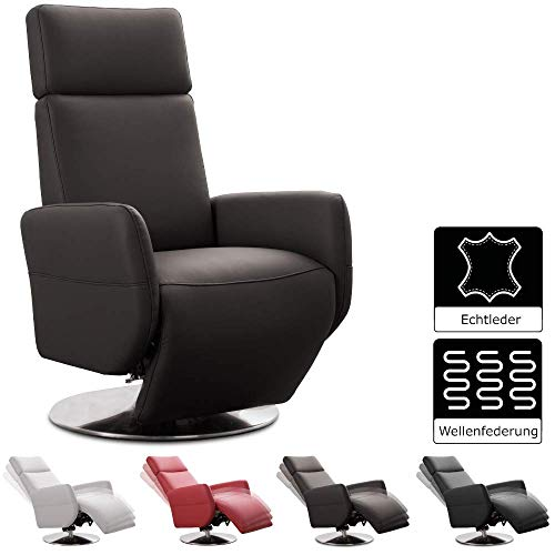 Cavadore TV-Sessel Cobra / Fernsehsessel mit Liegefunktion, Relaxfunktion / Stufenlos verstellbar / Ergonomie S / Belastbar bis 130 kg / 71 x 108 x 82 / Echtleder Mokka