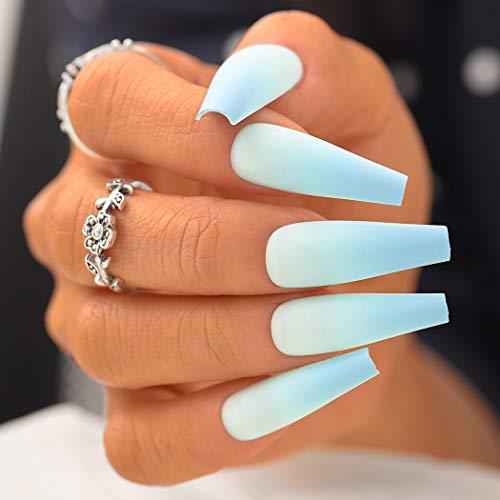Sethexy Matt Ballerina Falscher Nagel Lange Sarg Gradient Falsche Fingernägel 24St Acryl Drücken Sie auf Art Nail Tips für Frauen und Mädchen (Blau)