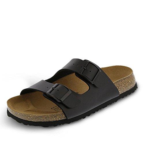 JOE N JOYCE LONDON Unisex Sandals for Men & Women, Size: W7/M5 US - Narrow, Black, SynSoft, two strap, 2 band, Girls, Boys, Ladies