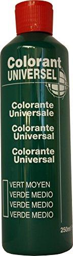 Vert Moyen Colorant Universel Concentré 250 ml pour toutes peintures décoratives et bâtiment. Grande compatibilité aussi bien en milieux solvant et aqueux. Convient également à la coloration des enduits , plâtres , et résines. Grande facililté de dosage grâce à son bouchon compte goutte