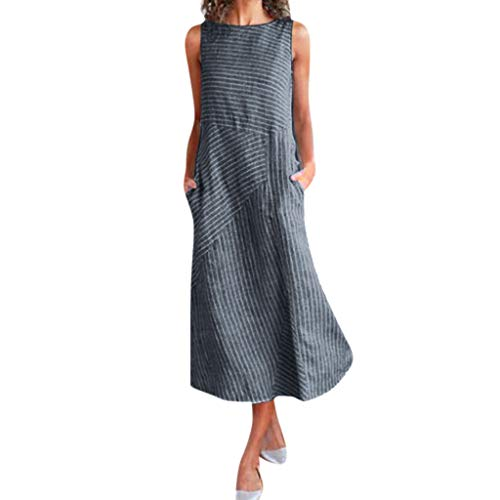 ReooLy - Vestido sin mangas de lino de algodón para mujer, cuello redondo, casual, bolsillo a rayas (B-Navy,...