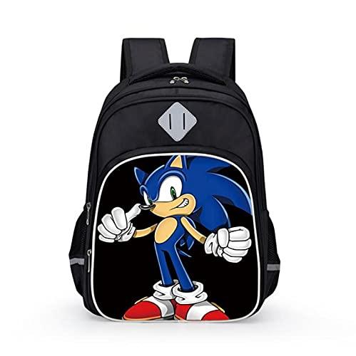 JINGJIANG Bolsa de la escuela Sonic The Hedgehog Mochilas de escuela para niños mochilas Sonic erizo 3D impreso Sonic School Bag para niños niñas