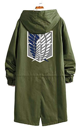 WANHONGYUE Shingeki No Kyojin Attack on Titan Anime Giacca Strench Coat Cappotto Adulto Cosplay Lungo Windbreaker Jacket Giubbotto con Cappuccio Verde Militare/1 L