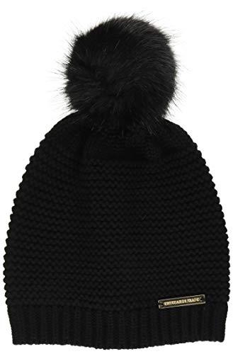 Trussardi Jeans Damen Beanie Knit Ecofur Pon Baskenmütze, Schwarz (Black K299), One Size (Herstellergröße: Uni)