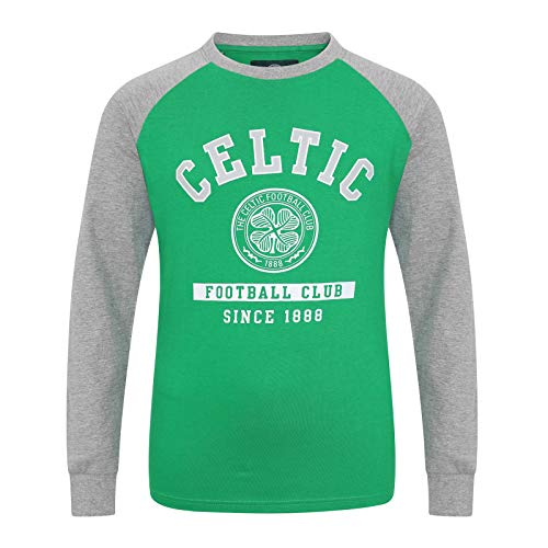 Celtic FC Official Gift Kids Crest Long Sleeve T-Shirt Green 12-13 Years