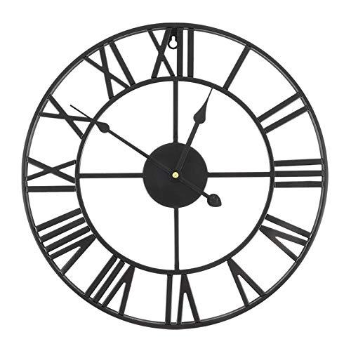Aceshop Orologio da Muro Silenzioso Vintage 16 Pollici, Grande Orologio da Parete in Ferro Decorazione per Soggiorno Cucina Studio Size 40cm x 40cm x 4.5cm (Nero)