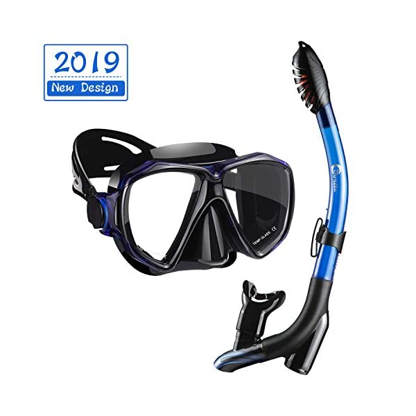 Dorlle Snorkel Mask Anti-Fog Snorkel Diving Set with Upgraded Free Breathing Tubes Anti-Leak Dry Top Snorkel for Adult and Youth