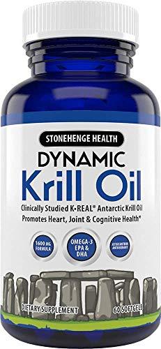 Stonehenge Health Dynamic Krill Oil Antarctic Ocean (Triple Strength) 1,600 mg Superior Absorption Omega-3 EPA, DHA, Phospholipids, & Astaxanthin -Joint, Brain, Immunity, & Heart Support (60 softgels)