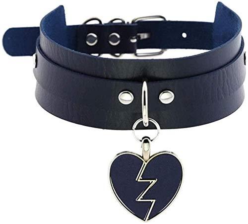 NC110 Gargantilla de corazón Punk, Collares de Moda, Gargantilla de Cuero para Mujeres y niñas, joyería de Rock Harajuku IC YUAHAOJIGE8