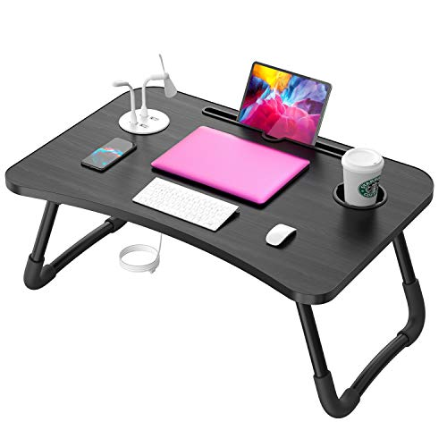 Laptop Table, Laptop Standing Desk for Bed, Portable Bed Tray, Lap Desk with USB/Cup Holder for Eating, Writing, Reading, Working on Bed/Couch/Sofa with Little Gift (Small Lamp, Small Fan)