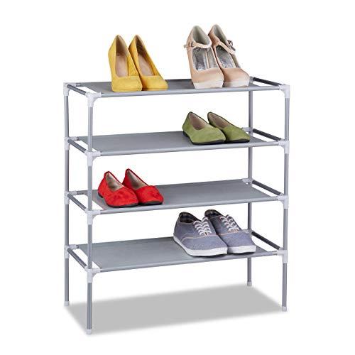 Relaxdays Stoff Schuhregal Stecksystem, 4 Ebenen, für 12 Paar Schuhe, Schuhständer hoch, HxBxT 68...