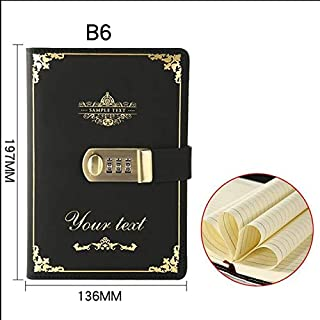Password Book Small - B6 Leather Notebook Password Dairy Note Book with Lock Thick Paper Planner Stationery Supplies