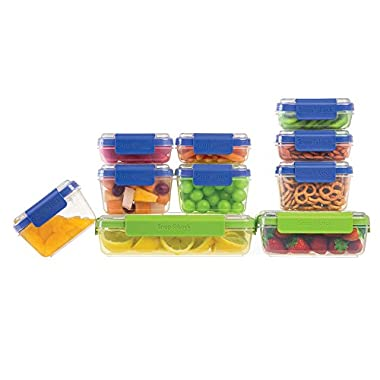 Progressive SnapLock 20-Piece Leak-Proof Food Storage Container Set in Blue/Green Includes 12, 8, 4 and 2 Cup Containers Size with Lids