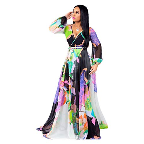 Ln-ZME Women Dress Deep V-Neck Multicolor Printed Hight Waist Beach Vacation Party Prom Casual Floor-Length Maxi Dress (XXL, Multicolore A)